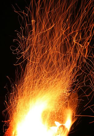 luminosity: bright orange flame on black  Stock Photo