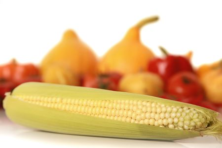 sweet yellow corn isolated on white photo