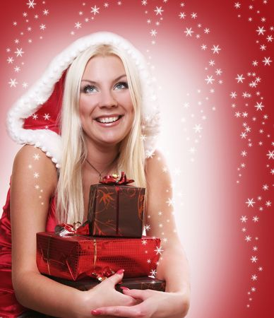 sexy young Santa-girl with presents photo