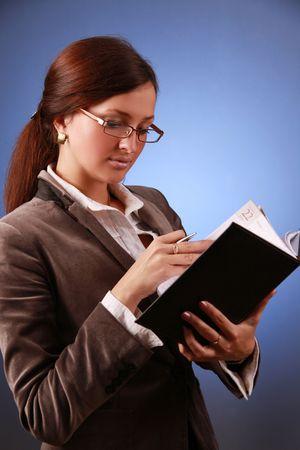 beautiful business-woman with organizer Stock Photo - 5690984