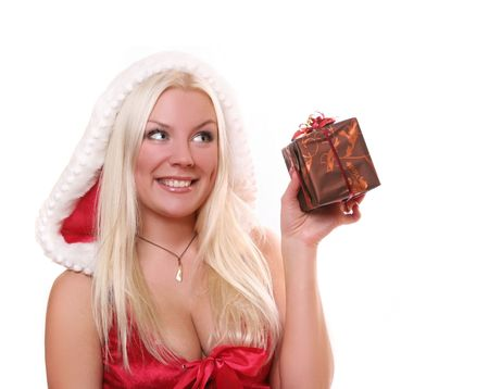 mrs santa claus: sexx young Santa-girl with present Stock Photo
