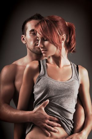 sexy loving couple in the dark Stock Photo - 5690119
