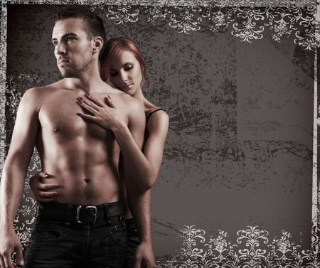 sexy loving couple in the dark Stock Photo - 5690135