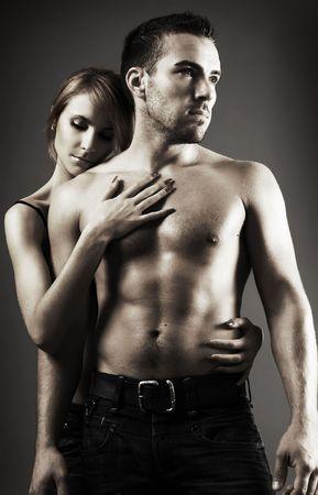 black sex: sexy loving couple in the dark