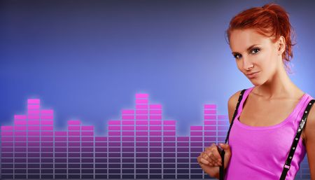 sexy redhead woman on blue background Stock Photo - 5714584