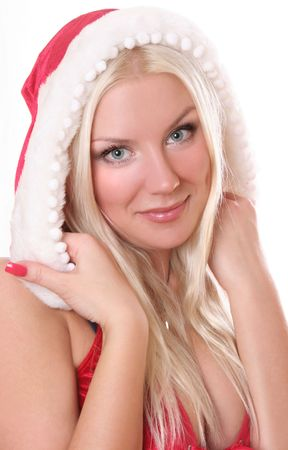 sexy blond Santa-girl on white Stock Photo - 5714547
