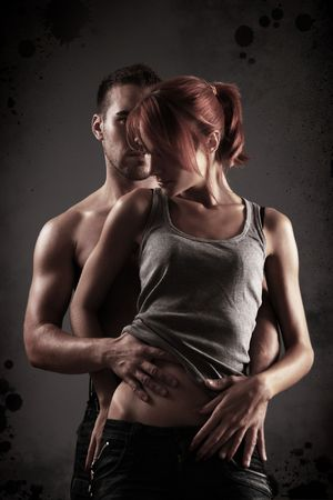 sexy loving couple in the dark Stock Photo - 5714536