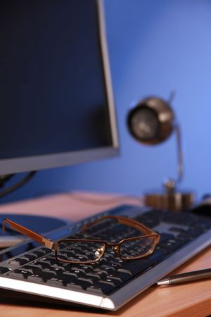 monitor and keyboard of personal computer in office Stock Photo - 5773605