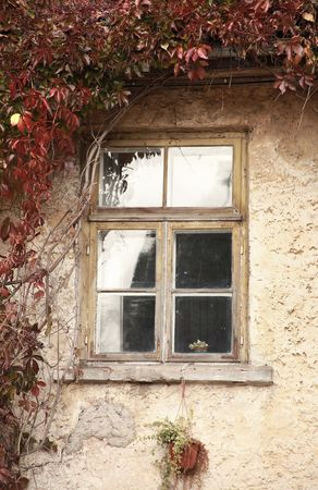 windows frame: background  with old wall and window Stock Photo