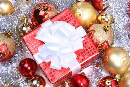 background with red christmas present Stock Photo - 5852345