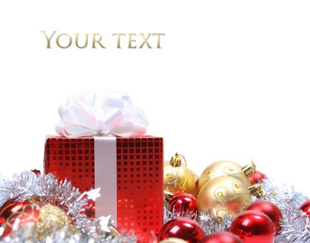 background with red christmas present Stock Photo - 5852338