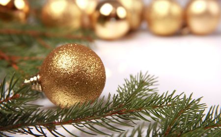 christmas background with golden balls Stock Photo - 5852495