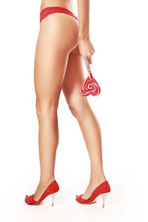 slim sexy legs isolated on white photo