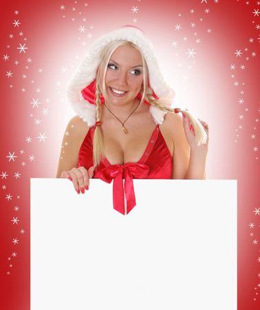 dona: Sra. sexy rubia. Santa holding white billboard
