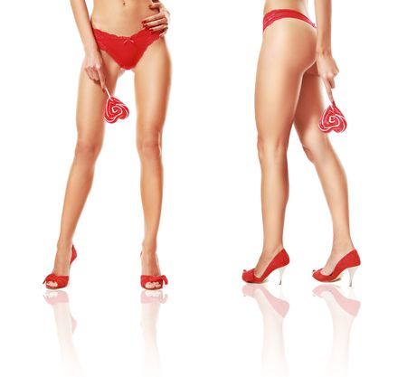 pieds sexy: Slim jambes sexy isol�es sur blanc Banque d'images