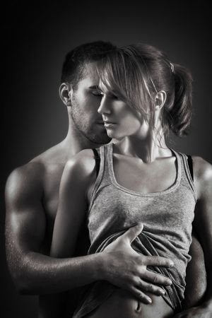 sexy loving couple in the dark Stock Photo - 5938074