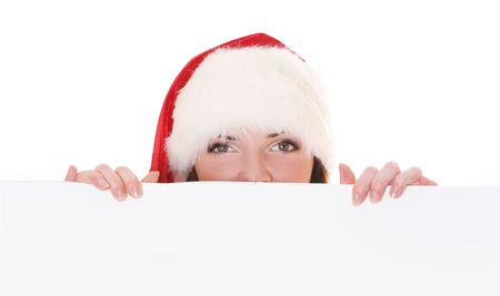 sexy blond mrs. Santa holding white billboard Stock Photo - 5933572