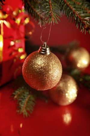 christmas background with golden balls Stock Photo - 5937192