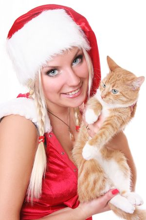 blue-eyed santa girl with fluffy kitten Stock Photo - 5933558