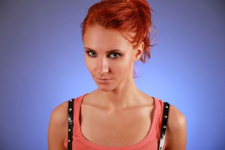 sexy redhead woman on blue background Stock Photo - 5933580