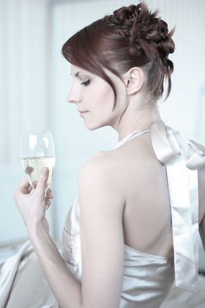 beautiful young woman drinking champagne  Stock Photo - 5933561