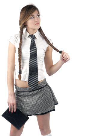 estudiante chica con pelo largo y blanco y negro minifalda  Foto de archivo - 3170278