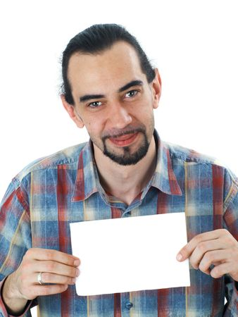 conquering: surprised middle aged man holding blank white sheet of paper, isolated on white Stock Photo