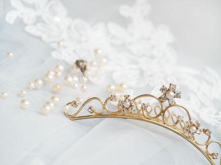 perls: wedding diadem on white viel background