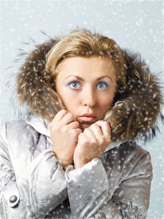 Young women in fur hood with worried expression on face in snow photo