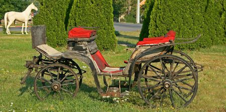protrude: Old carriage left on meadow to protrude