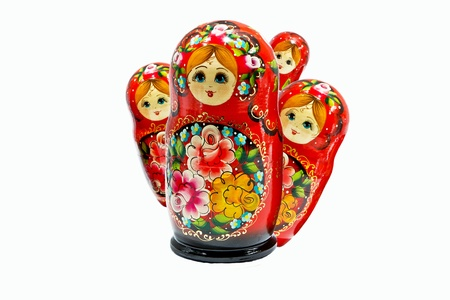 Russian nesting dolls on a white background photo