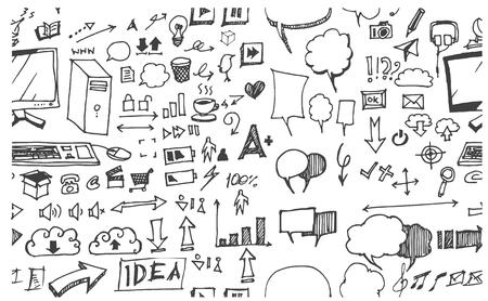 lapiz y papel: Dé el modelo inconsútil del Doodle dibujado con símbolos de negocios Vectores