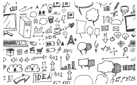 drawings image: Hand drawn seamless doodle pattern with business symbols