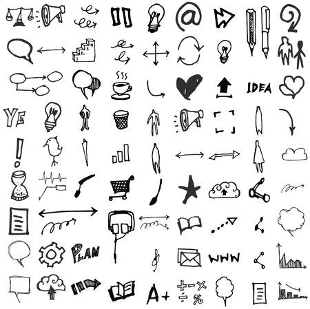 Doodle Icons. Universal Set. Illustration