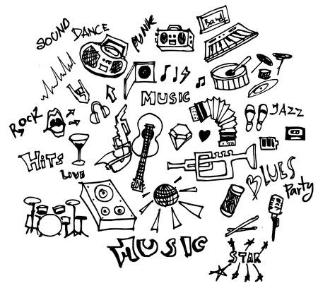 Music doodles line vector illustration Illustration