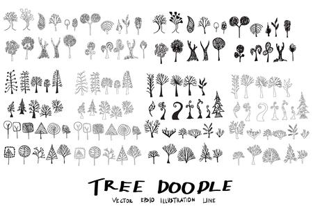 christmas tree illustration: Tree Doodle Sketch line vector set