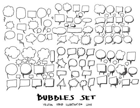 Bubble Doodle Sketch line vector set