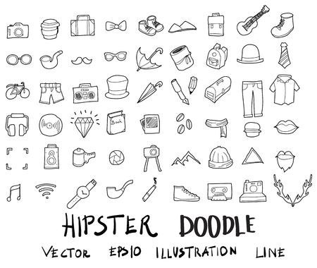Doodle sketch hipster icons vector Illustration