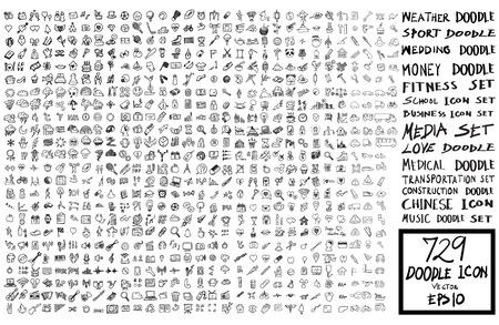 set di icone di doodle Torna a scuola, meteo, affari, matrimonio, soldi, fitness, media, trasporti, edilizia, musica Vettoriali