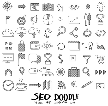 teamwork cartoon: Search Doodle icon line vector set Illustration