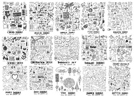 MEGA set icoon doodles van film, ziekenhuis, zomer, eten, wetenschap, bouw, bubble, bankieren, hart, gegevens, boom, spandoek, hipster, sport, logistiek Vector Illustratie
