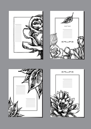 Nature brochure cover design templates collection. Vector illustrations flower sketch