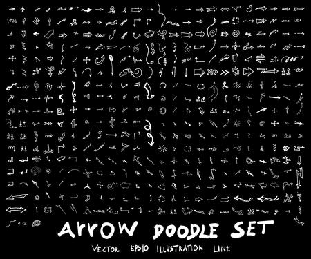 Arrow hand draw sketch vector doodle icons set on blackboard Çizim