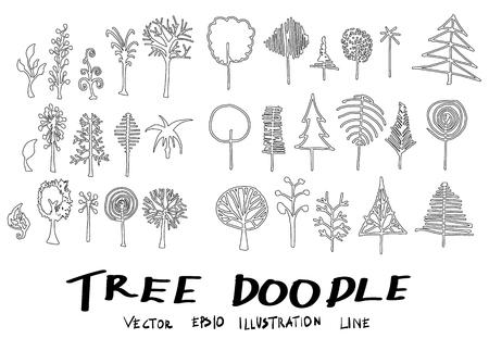 Set of tree doodles vector