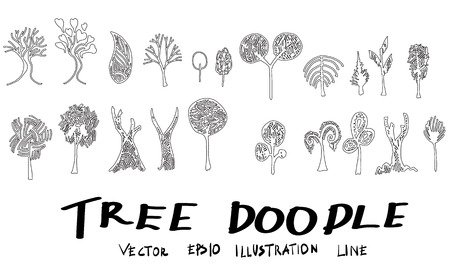 Set of tree doodles vector