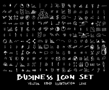 Business, marketing, finance hand draw sketch vector doodle icons set on blackboard Vettoriali