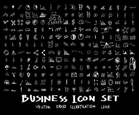 Business, marketing, finance hand draw sketch vector doodle icons set on blackboard Illustration