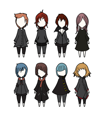 chibi: Characters vector set cartoon design mobile game dress up Illustration on White Background