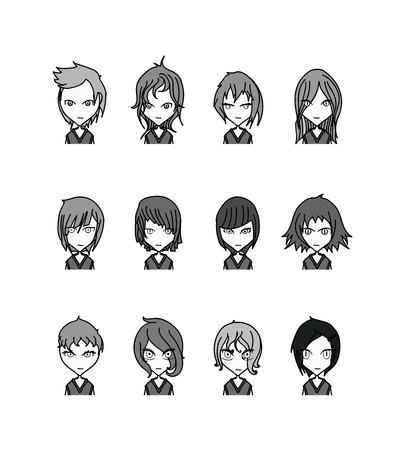 Doodle Characters vector set cartoon design mobile game dress up Illustration on White Background