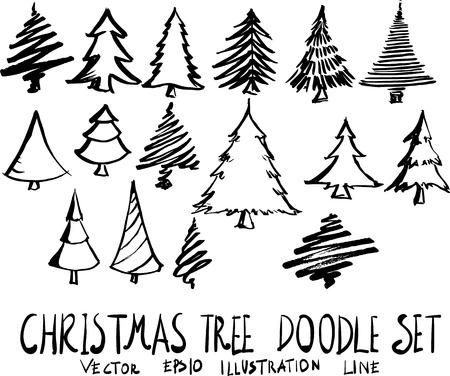 Set of christmas tree doodle illustration Hand drawn Sketch line vector